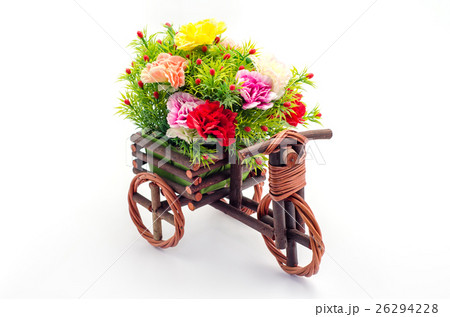 Artificial flowers with wooden tricycle toyの写真素材 [26294228] - PIXTA