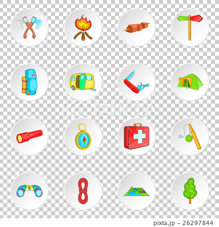 Camping icons set, cartoon style 26297844