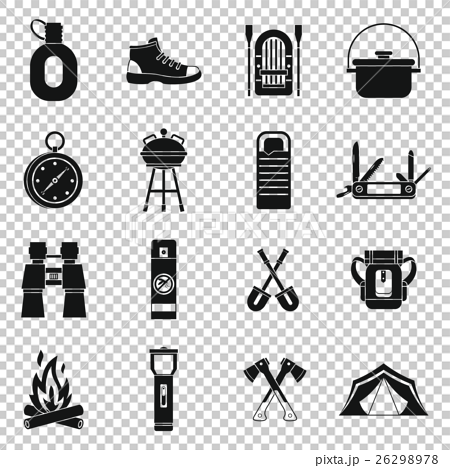 Recreation tourism icons set, simple style 26298978