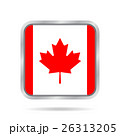Flag of Canada. Shiny metallic gray square button. 26313205