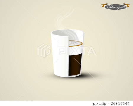 cappuccino coffee cup in cross section viewのイラスト素材 [26319544] - PIXTA