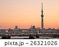 夕焼け 東京スカイツリー 堀切橋の写真 26321026