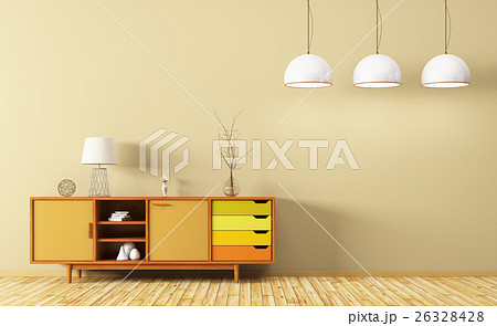 Modern interior of living room with dresser 3d for Aleso3d interior 026 lounge room
