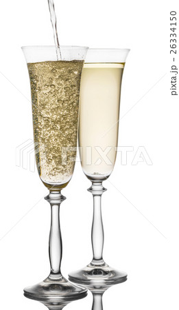 is poured into a glass champagneの写真素材 [26334150] - PIXTA