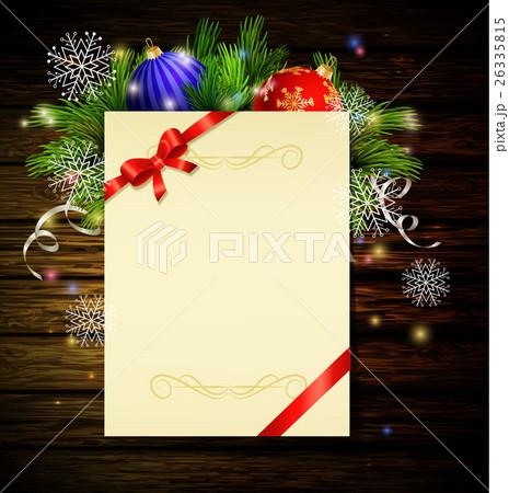 Christmas background on woodのイラスト素材 [26335815] - PIXTA