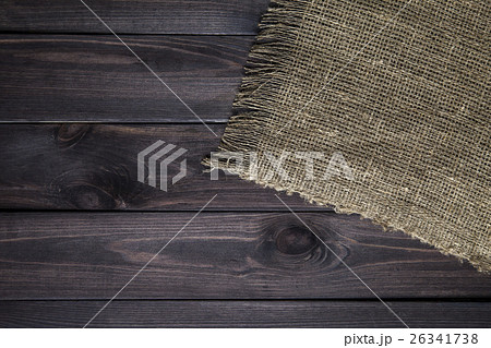 Hessian texture on wooden table 26341738