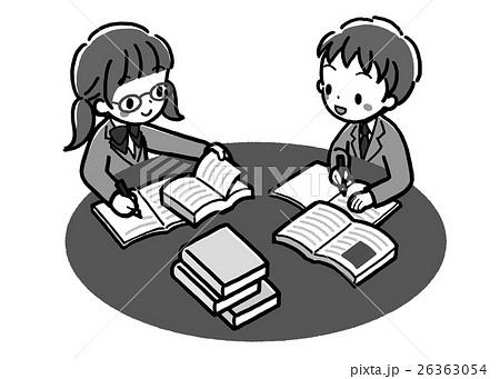 書籍_調べ学習_二人_モノクロ_制服 26363054