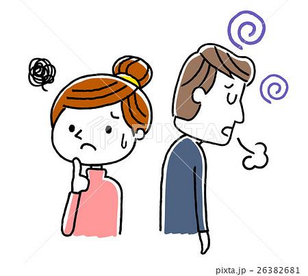 夫婦:夫が落ち込む、心配する妻 26382681
