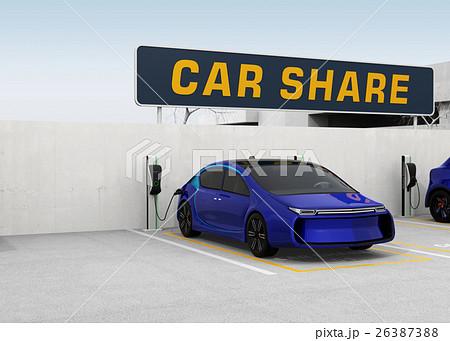 カーシェアリング専用駐車場のイメージ。左側コピースペース付き。 26387388