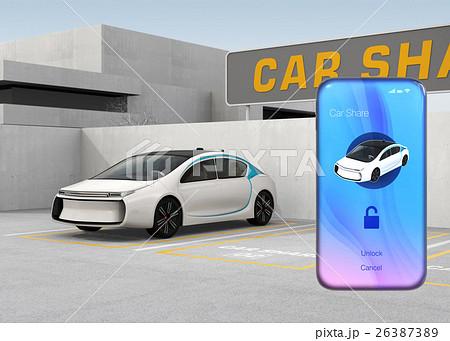 カーシェアリング専用駐車場とスマートフォンアプリのイメージ。 26387389