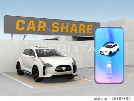 カーシェアリング専用駐車場とスマートフォンアプリのイメージ。 26387390