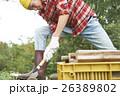 田舎暮らし のこぎりで作業する男性 26389802