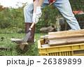 田舎暮らし のこぎりで作業する男性 26389899