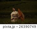 日本の茶畑と着物の女性 ポートレート 26390749