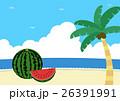 夏の爽やかなビーチとスイカ 26391991