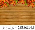 背景素材 (木目と紅葉) 26398148