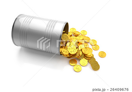 Golden coins in a metal can.のイラスト素材 [26409676] - PIXTA