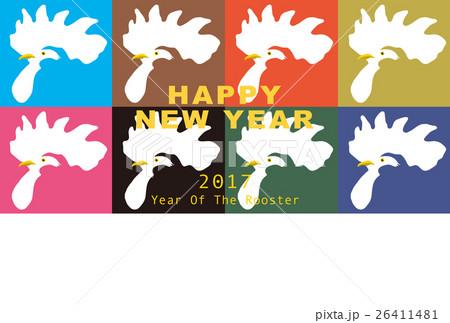 2017年賀状テンプレート「カラフルニワトリ」 英語賀詞 添え書きスペース空き ハガキ横