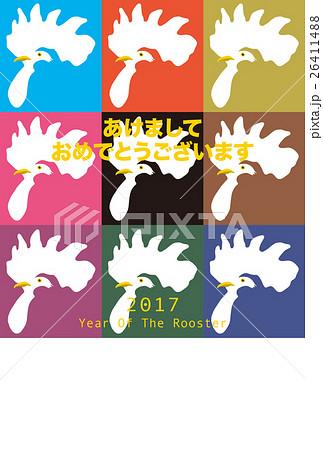 2017年賀状テンプレート「カラフルニワトリ」 日本語賀詞 添え書きスペース空き ハガキ縦