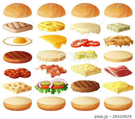 Burgers set. Ingredients buns, cheese, bacon 26420628