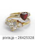 Wedding rings with diamond heart. 3D illustration 26425328