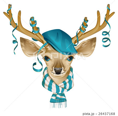 Christmas deer head in blue fashionable hat and 26437168