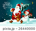 Santa and snowman with xmas tree and gifts card 26440000