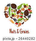 Nut, grain, seed and bean heart poster design 26440282