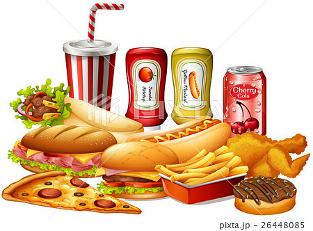 Different kinds of fastfood 26448085
