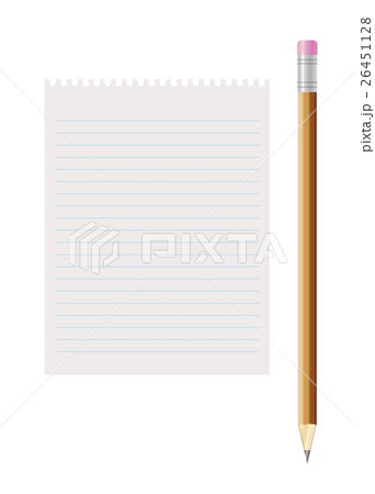 blank lined paper and pencil with eraserのイラスト素材 [26451128] - PIXTA