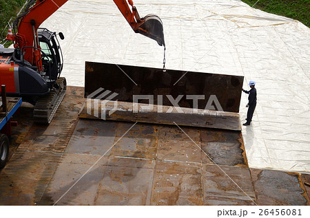 重機搬入のための仮設通路、敷鉄板の敷設 26456081