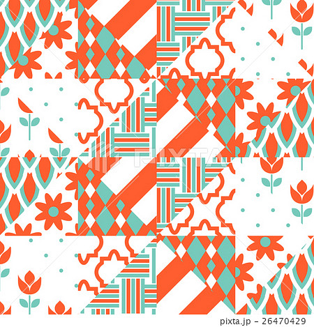 Red and green patchwork pattern.のイラスト素材 [26470429] - PIXTA