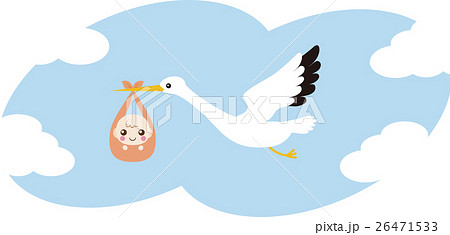 赤ちゃんを運ぶコウノトリ 26471533