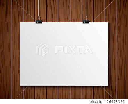 white paper hanging on wooden background.のイラスト素材 [26473325] - PIXTA