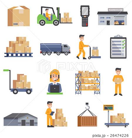 Warehouse Flat Icons Set 26474226