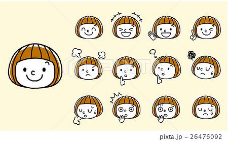 女の子顔表情セットのイラスト素材 26476092 Pixta