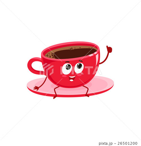 Funny black coffee cup character giving thumb up 26501200
