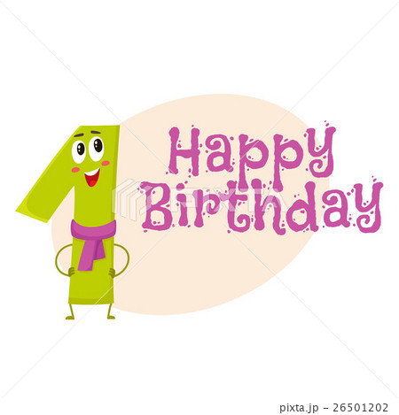 Happy birthday vector greeting card design with 26501202