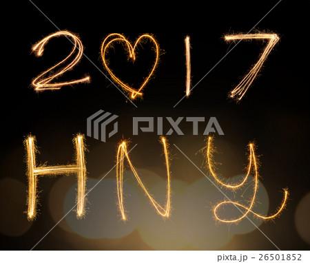 happy new years 2017 fireworks Sparkle alphabetの写真素材 [26501852] - PIXTA
