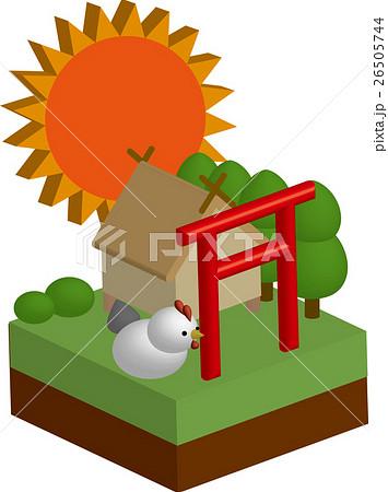 立体箱庭-神社と鶏と太陽のイラスト素材 [26505744] - PIXTA