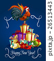 Happy New Year card with rooster cock 26513443
