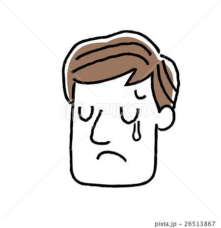 男性顔表情悲しい涙のイラスト素材 26513867 Pixta