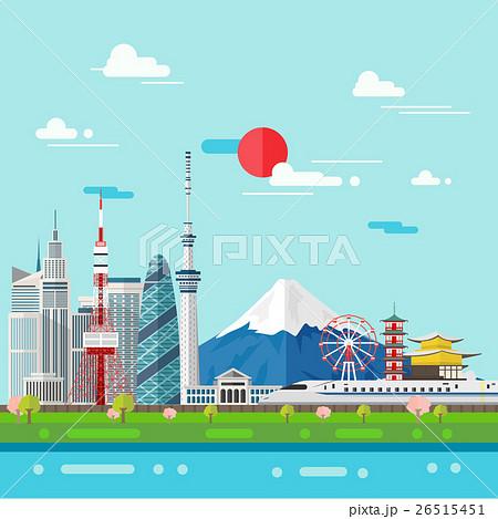 Flat illustration of Tokyo city in Japan. 26515451