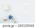 Photo vintage frame with lamp and artificial bouqu 26529569