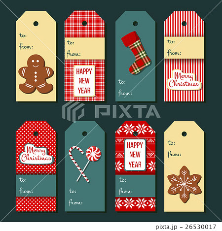 christmas tags funny christmas label setのイラスト素材 26530017