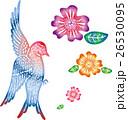ハンコ風 ツバメと花 カラー 26530095