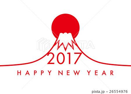 2017年 年賀状 イラスト 富士山 日の出 のイラスト素材 26554976