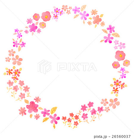 水彩イラスト フラワーリースのイラスト素材 26560037 Pixta