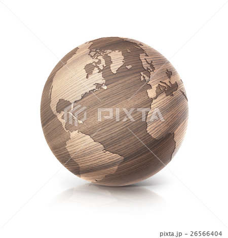 oak wood globe 3D illustration Americaのイラスト素材 [26566404] - PIXTA