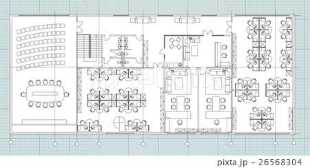 Standard office furniture symbols setのイラスト素材 [26568304] - PIXTA